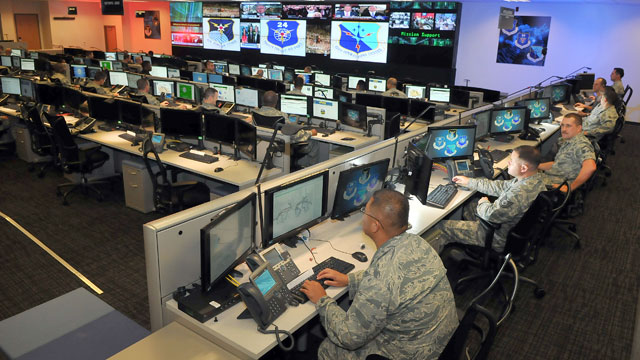 PHOTO: Personnel of the 624th Operations Center, located at Joint Base San Antonio, Texas, conduct cyber operations in support of the command and control of Air Force network operations and the joint requirements of Air Forces Cyber, the Air Force compone