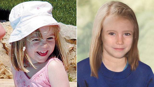 PHOTO: Madeleine McCann is shown in this 2007 handout photo, left, and in an age progression image created by police that sh