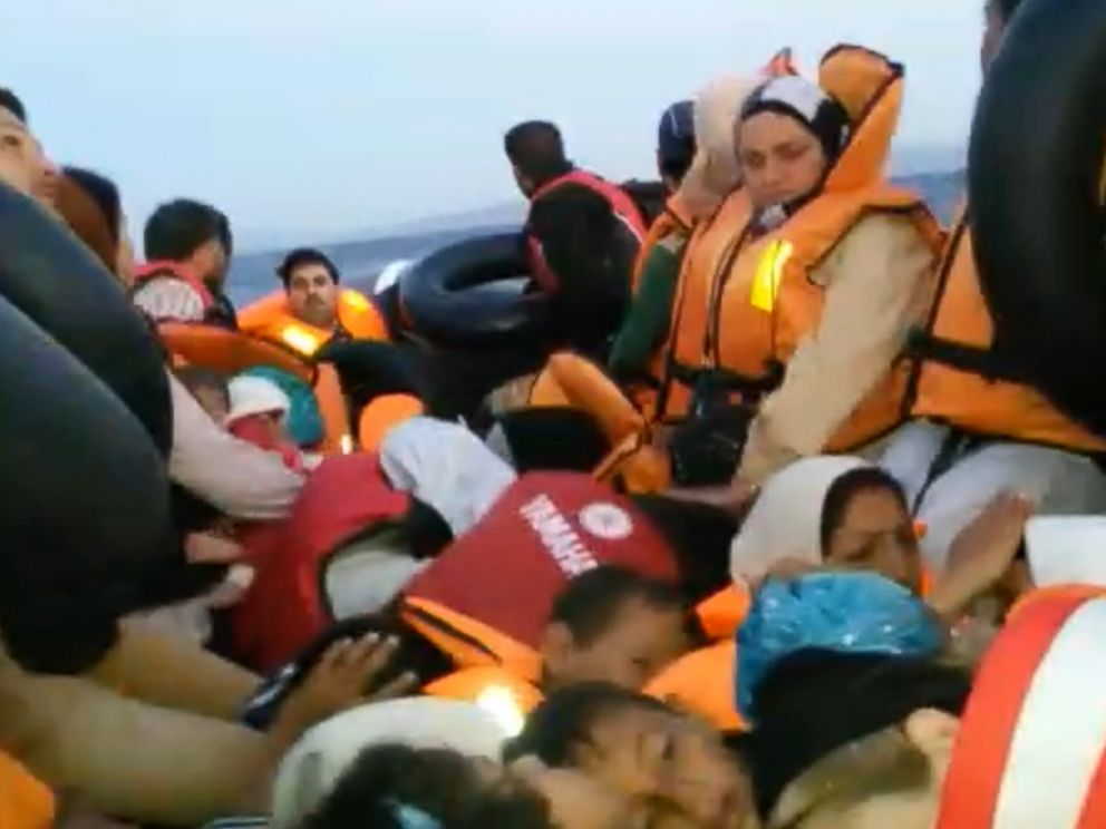 PHOTO: The Hilel family shortly before the Greek Coast Guard rescued them after spending 6 hours in the Mediterranean.