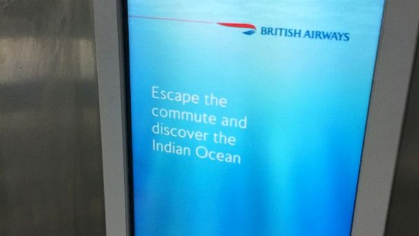 "PHOTO: Pictured is the British Airways ad that includes the caption, ""Escape the commute and discover the Indian Ocean."""