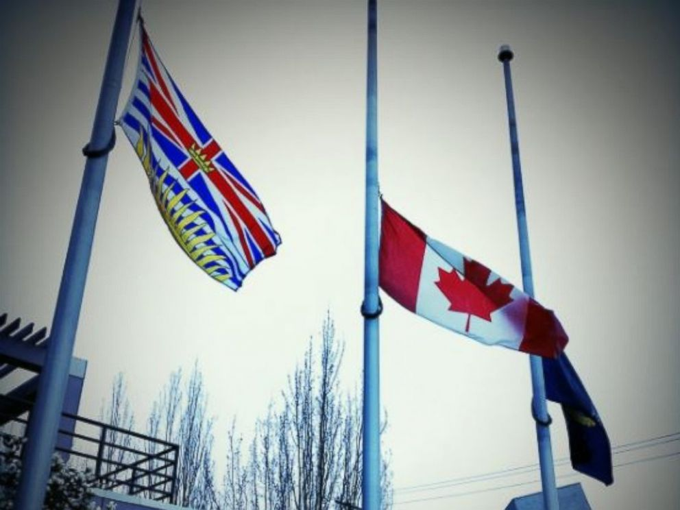 PHOTO: The Victoria Police Department in British Columbia, Canada, flew flags at half-mast on March 22, 2017, to pay tribute to the victims of the London terror attack earlier that day.