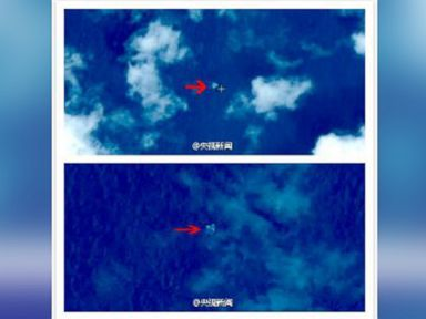 PHOTO: Satellite images reportedly taken on March 9, 2014 and posted On Chinas national defense science and technology ministry (SASTIND) website  on March 12, 2014 appear to show ?suspected floating objects? in the waters between Malaysia and Vietnam. I