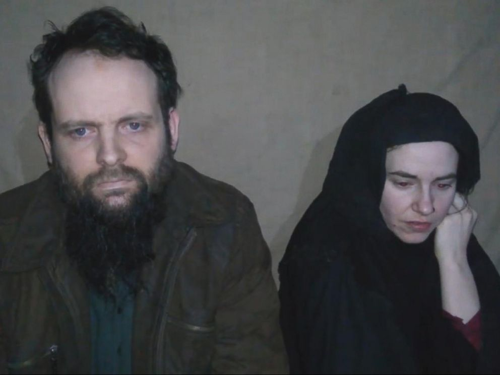 Caitlan Coleman of Stewartstown, Penn., and her Canadian husband Joshua Boyle seen in a video filmed by their captors and released in 2016.