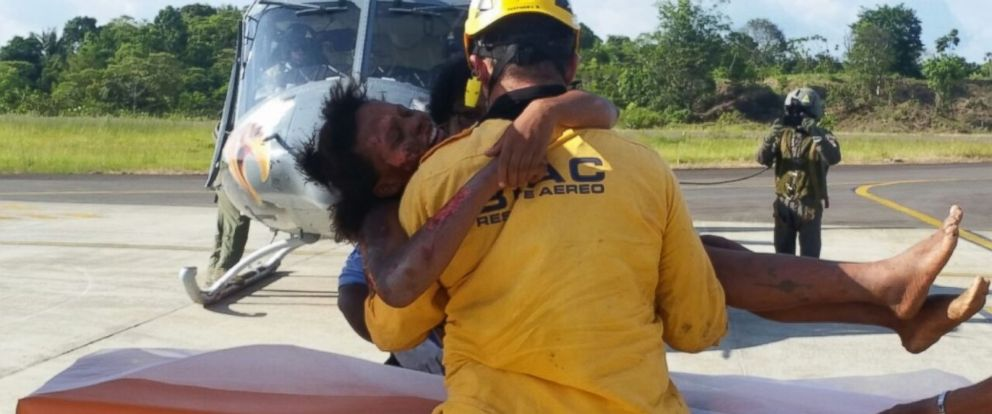 PHOTO: The Colombian Air Force rescued Marie Nelly Murillo and her one-year-old son on June 25, 2015 from a jungle where they were stranded for five days after a plane crash.
