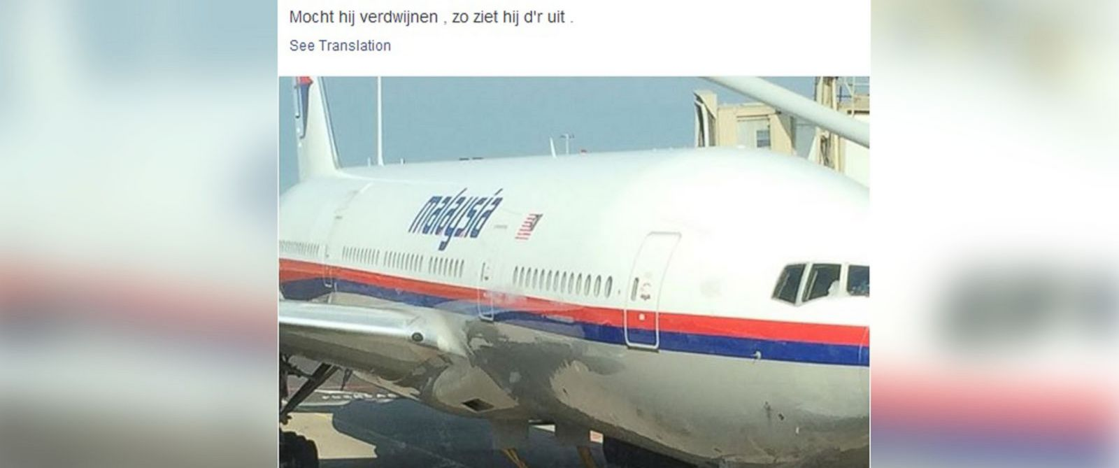 PHOTO: This photo was posted to Facebook on July 17, 2014 by Cor Pan, a passenger on the downed Malaysia Airlines flight MH17, before departing from Amsterdam, Netherlands.