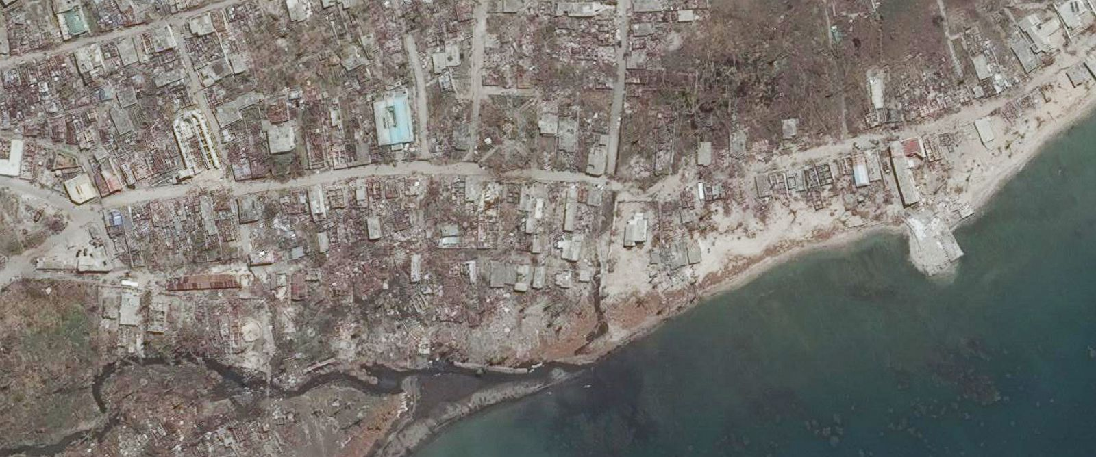 PHOTO: Coteaux, Haiti is pictured by satellite on Oct. 9, 2016, after the area was struck by Hurricane Matthew.
