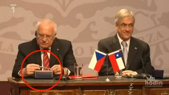 PHOTO: A video, which was uploaded April 11, 2011, currently has more than 83,000 views and shows Klaus stealing an official pen last week during a visit to Chile.