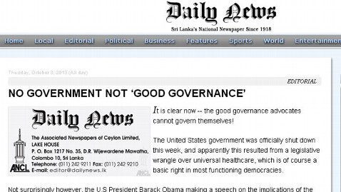ht daily news nt 131004 wblog Headlines: US Government Shuts Down, World Says, Meh