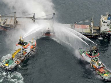 PHOTO: Task Force Rescue Vessels put out the fire on The Purple Beach freighter.