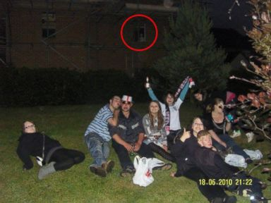 PHOTO: Natasha Oliver, pictured here with her friends in 2010, believes there is a ghostly figure in the window behind them.