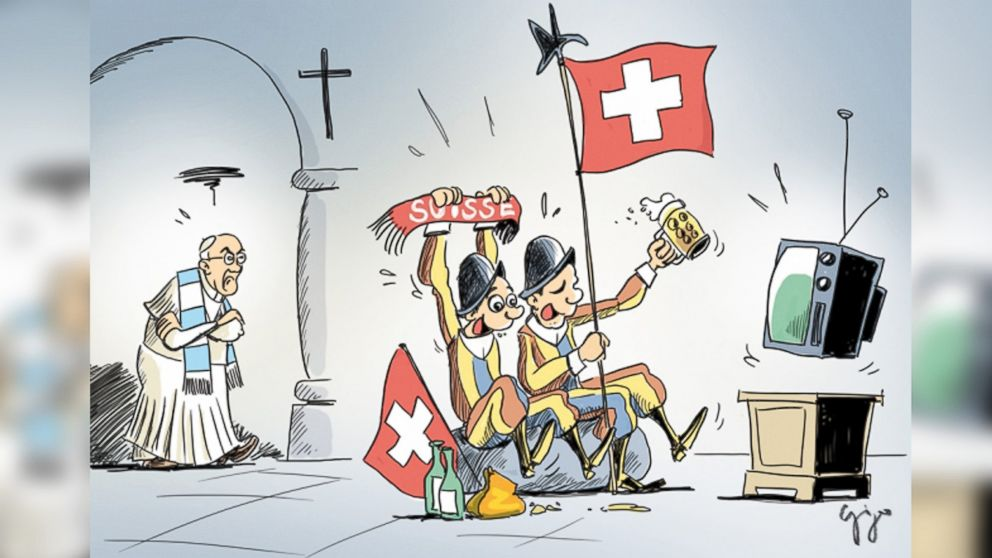 "PHOTO: The official Vatican Communications twitter account tweeted this cartoon by Gabriel Giger showing the Swiss Guard and Pope Francis with the text, ""Argentina vs Switzerland :)"" prior to their World Cup match on July 1, 2014."