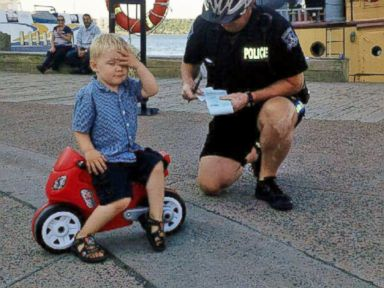 PHOTO: This image was posted to the Halifax Regional Police Twitter account on July 5, 2015 with the text, Remember, no motorcycle parking in the circle by the ferry terminal. This ruthless biker was caught yesterday!
