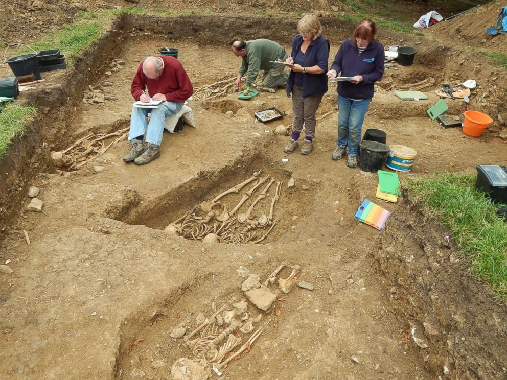 PHOTO: The skeletons, dating to the 14th century, have been dated by radiocarbon. Archaeologists believe the site may have been a special place of burial, possibly for pilgrims.