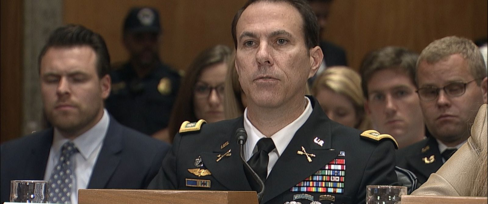PHOTO: Lt. Col. Jason Amerine testifies before the Senate Homeland Security and Governmental Affairs Committee, June 11, 2015.