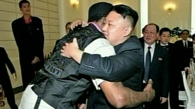 PHOTO: North Korean leader Kim Jong Un hugs former NBA star Dennis Rodman during Rodman's visit to Pyongyang, North Korea.