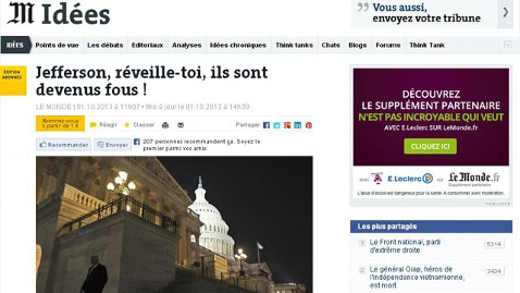 ht le monde editorial 1 nt 131004 wblog Headlines: US Government Shuts Down, World Says, Meh