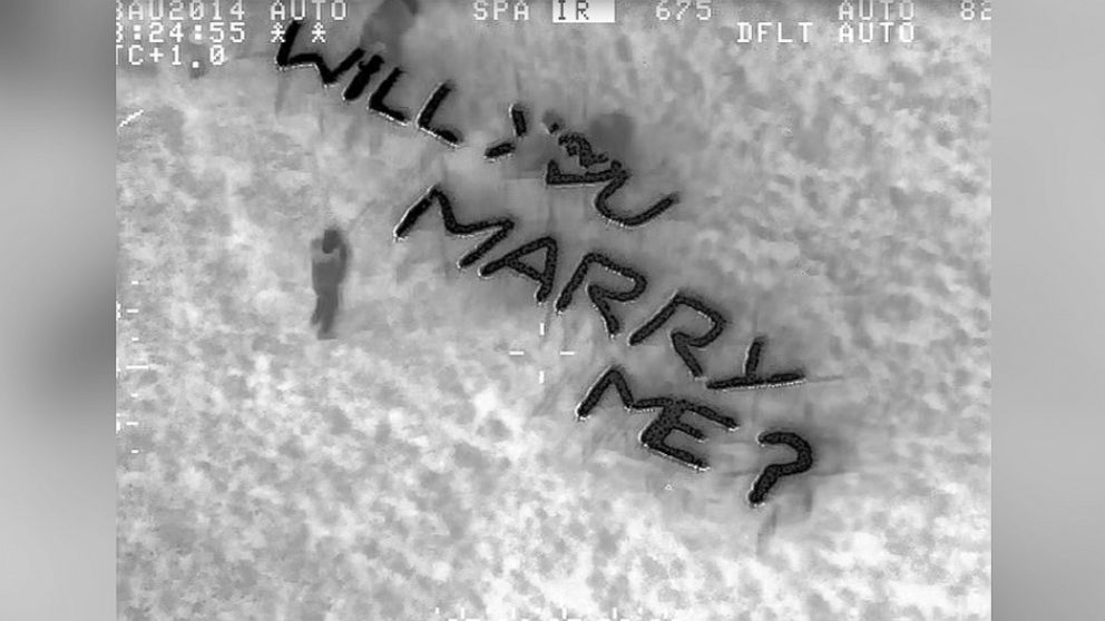 PHOTO: Police in London spotted a marriage proposal by helicopter in Gladstone Park on Aug. 23, 2014.
