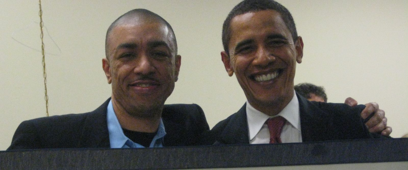 PHOTO: Barack Obama (right) poses with his half-brother Mark Obama-Ndesandjo (left).