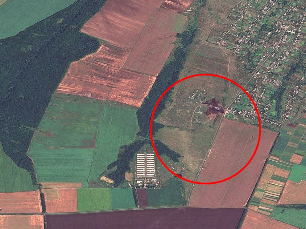 PHOTO: The crash site of Malaysia Airlines Flight 17 is circled just outside the town of Grabove, Ukraine in a satellite image from Allsource Analysis.