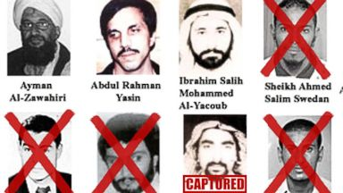 PHOTO: Image showing the Most Wanted Terrorists list released October 10, 2001 by President George W. Bush, at FBI headquarters in Washington. Graphics added by ABC News.