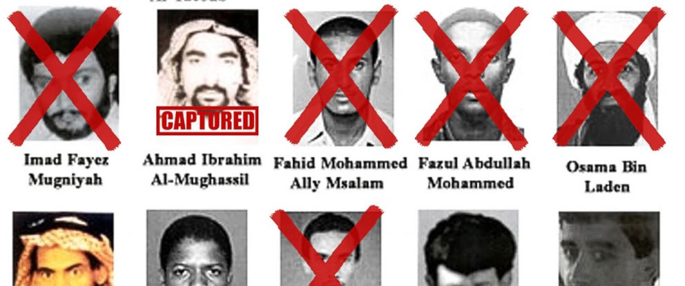 "PHOTO: Image showing the ""Most Wanted Terrorists"" list released October 10, 2001 by President George W. Bush, at FBI headquarters in Washington. Graphics added by ABC News."