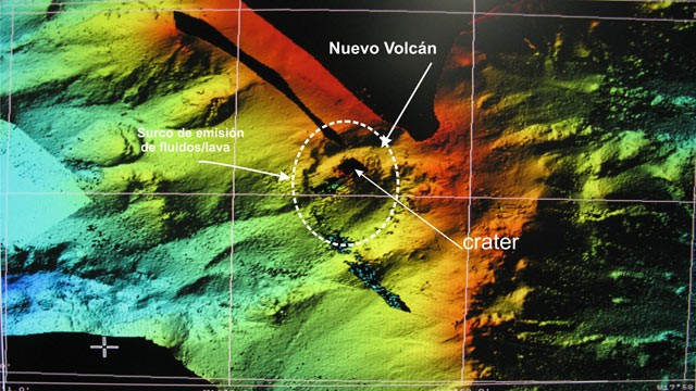 PHOTO: Spanish scientists have mapped the seabed; this digital terrain model shows the emerging underwater volcano.