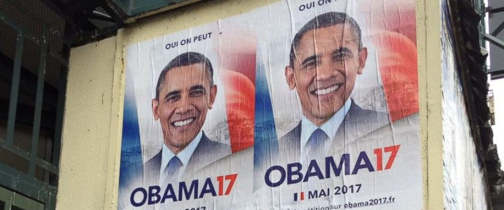 "PHOTO: Posters for the grassroots ""OBAMA17"" were spotted plastered across Paris in February 2017."