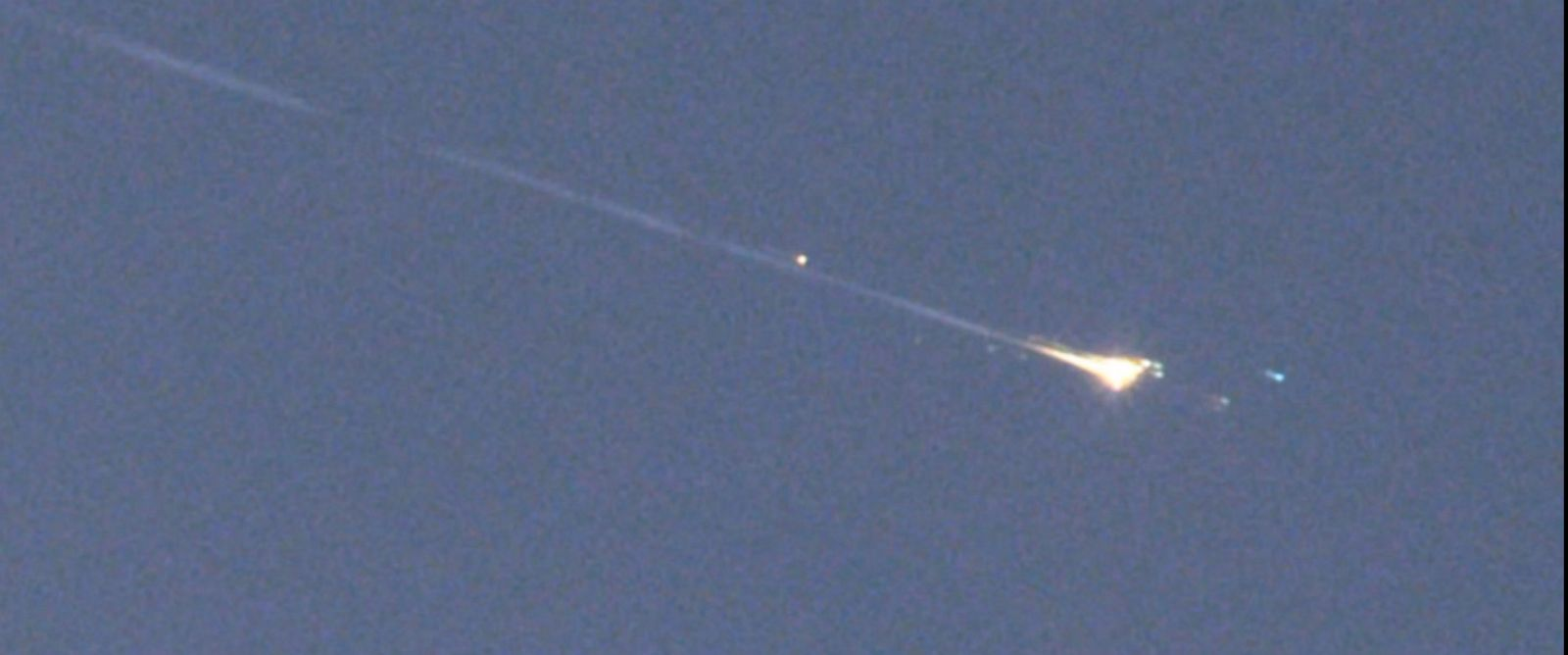 PHOTO: Fragments of space object WT1190F glow brightly as they enter the atmosphere near Sri Lanka on Nov. 13, 2015.