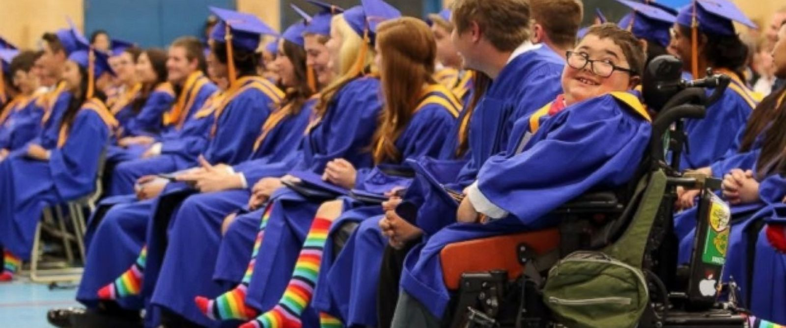 PHOTO: More than half of the graduating students at Vanier Catholic Secondary School in Whitehorse, Canada wore rainbow socks at their cap and gown ceremony this weekend to support their schools gay-straight alliance.