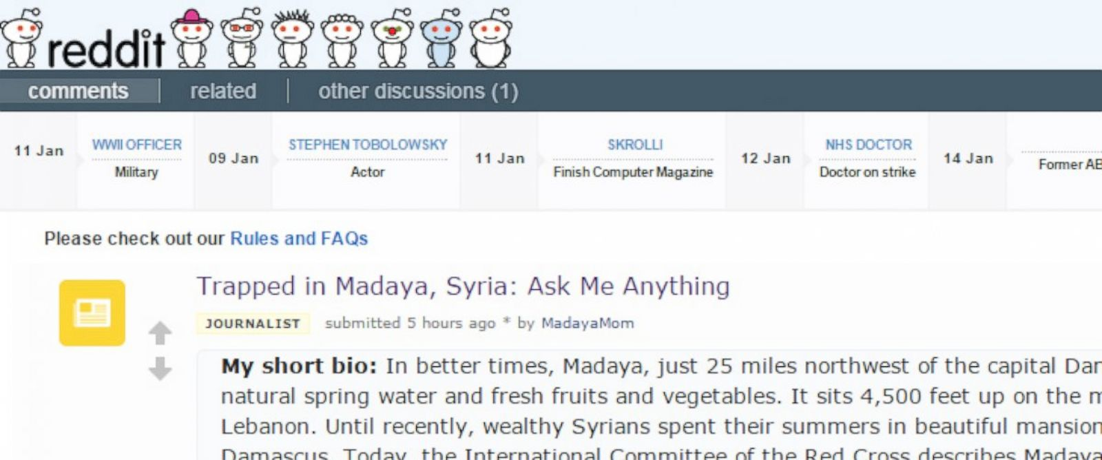 PHOTO: With help from ABC News, Madaya Mom conducted a Reddit AMA on Jan. 22, 2016.