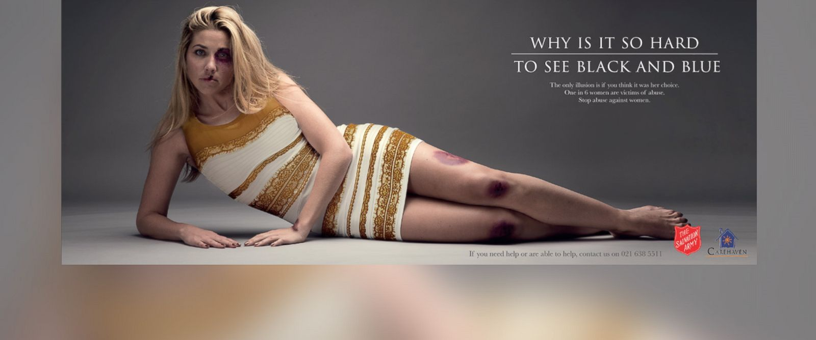 "PHOTO: The Salvation Army South Africa posted this image to their Twitter on March 6, 2015 with the caption, ""Why is it so hard to see black and blue? One in six women are victims of abuse. #StopAbuseAgainstWomen"""