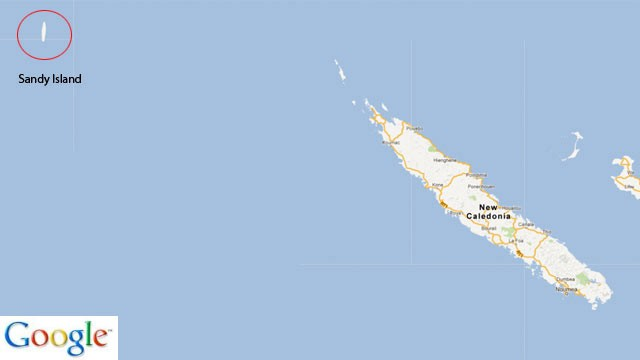 PHOTO:&nbsp;Sandy Island's location, according to Google Maps.