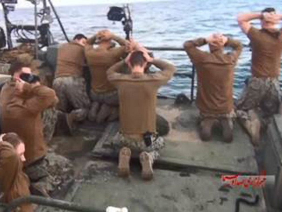 PHOTO: Screen grabs from video broadcast by Irans state broadcaster purport to show 10 American sailors being detained by Iranian authorities in the Persian Gulf, Jan. 12, 2016.