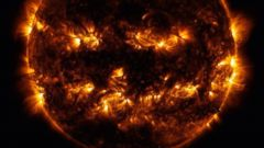 PHOTO: Active regions on the sun combined to look something like a jack-o-lantern's face on Oct. 8, 2014.