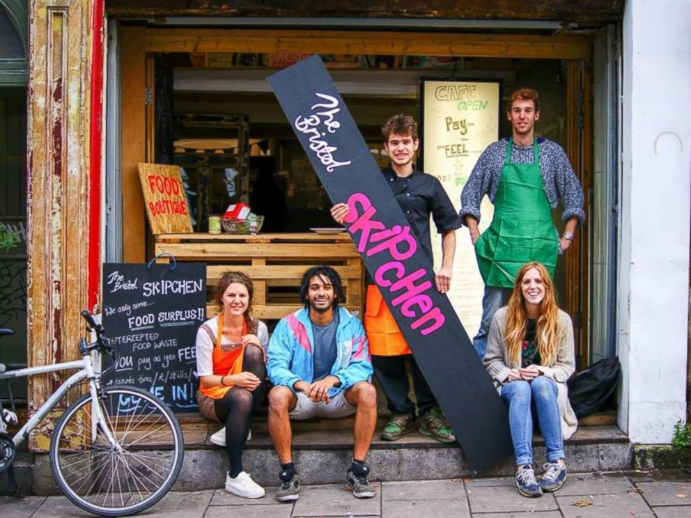 PHOTO: A few of the volunteers from the pop-up cafe in Bristol that serves recycled food appear in this image from The Bristol Skipchen: A Real Junk Food Project Facebook page, Oct. 7, 2014.