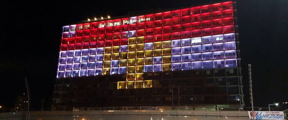 PHOTO: Tel Avivs city hall is lit with the flag of Egypt on Nov. 24, 2017, in honor of the victims of a deadly attack at a mosque in the Sinai peninsula.