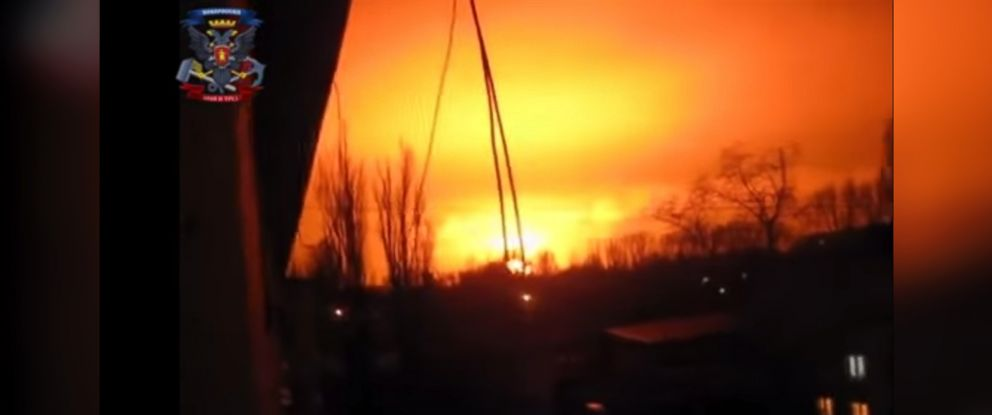 PHOTO: Residents of Donetsk, Ukraine, caught the explosion at a chemical factory on video on the night of Feb. 8, 2015.