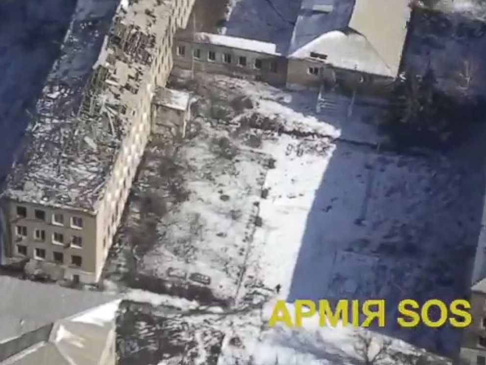 PHOTO: A drone video posted to YouTube on Feb. 18, 2015 shows the aftermath of shelling in Debaltseve, Ukraine, Feb. 18, 2015.