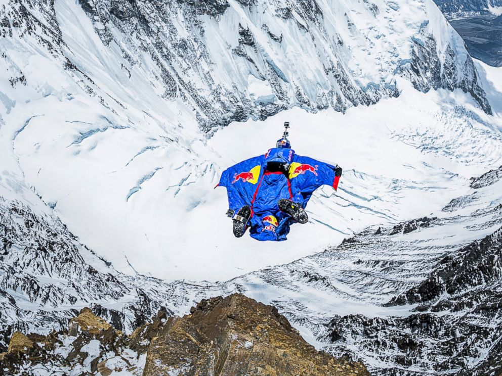 PHOTO: Valery Rozov jumps off the north face of Mount Everest, China on May 5th, 2013.