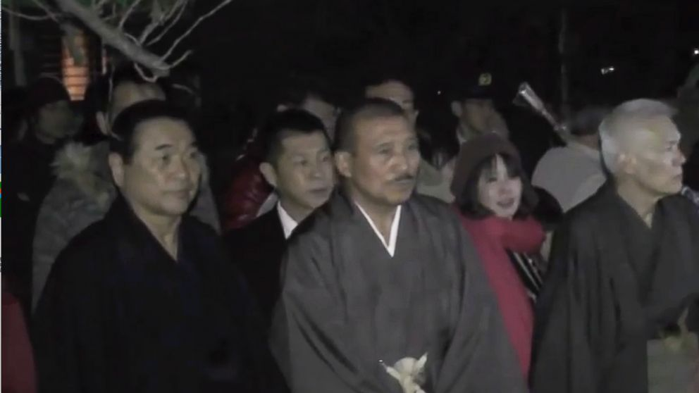 PHOTO: Yamaguchi-gumi members attend a shrine in the YouTube clip posted to the groups website.