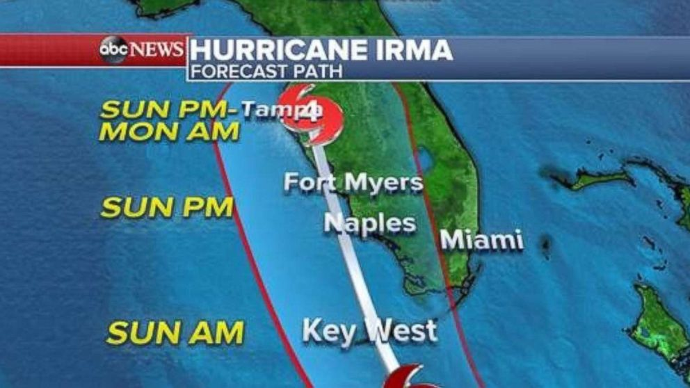 PHOTO: Hurricane Irma forecast path at 8 a.m. Sept. 9, 2017.