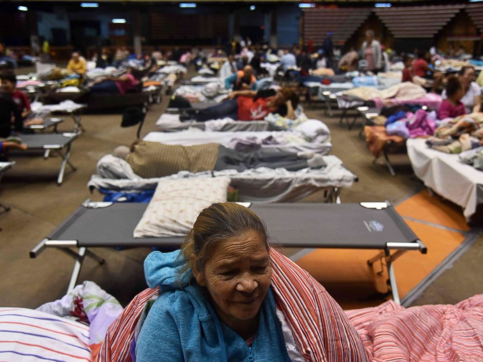 PHOTO: Librada is seen at the Roberto Clemente Coliseum refuge in San Juan, Puerto Rico, Sept. 19, 2017, prior the arrival of Hurricane Maria. She left her house voluntarily to take refuge.