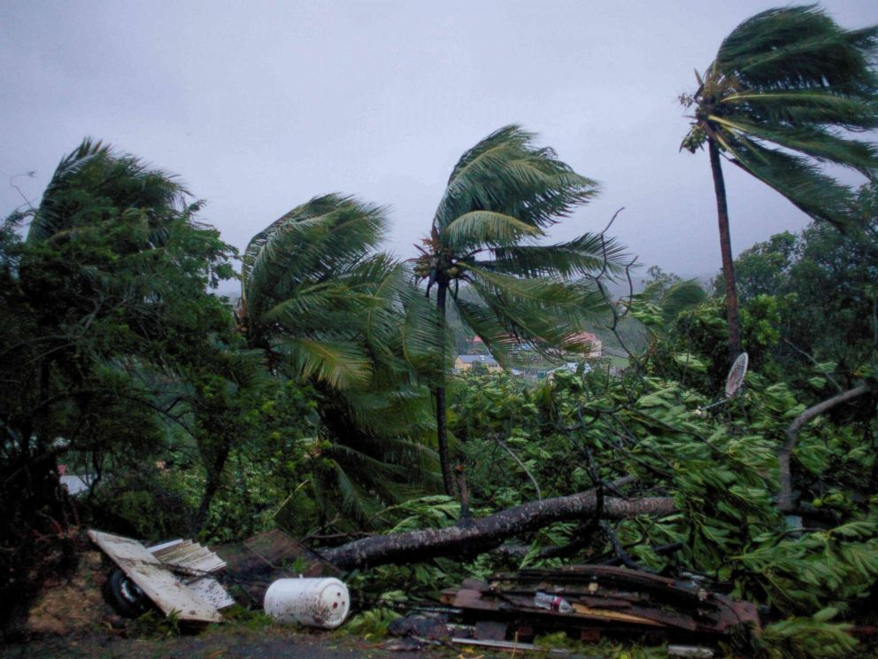 PHOTO: Powerful winds and rains of Hurricane Maria hit the city of Petit-Bourg on the French overseas Caribbean island of Guadeloupe, Sept. 19, 2017.