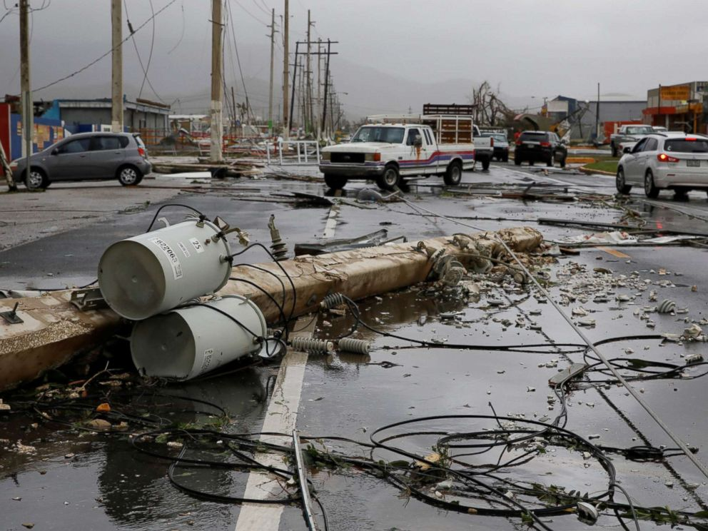 PHOTO: Damaged electrical installations are seen after the area was hit by Hurricane Maria en Guayama, Puerto Rico, Sept. 20, 2017.