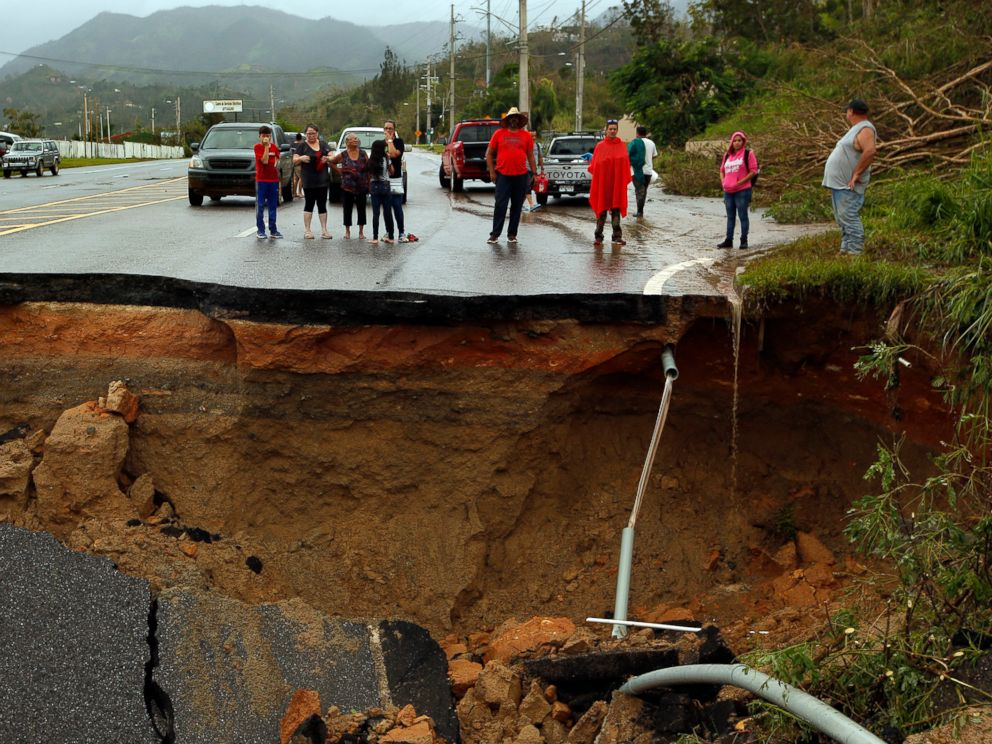PHOTO: Highway 10, a major north-south connection through Puerto Rico is completely washed out, leaving people cut off, Sept. 23, 2017.
