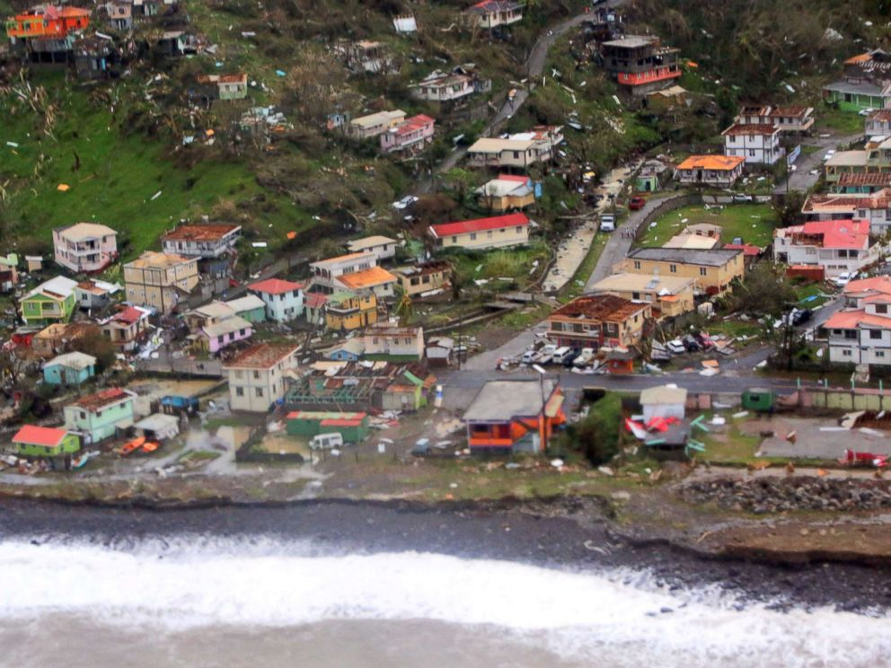 PHOTO: Damaged homes from Hurricane Maria are shown in this aerial photo over the island of Dominica, Sept.19, 2017.
