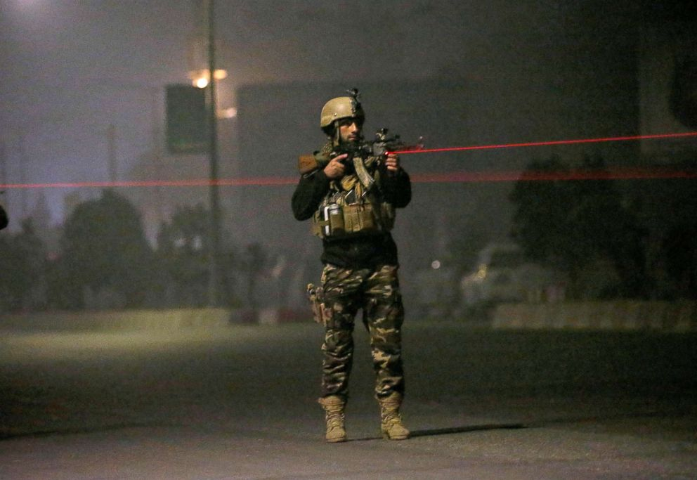 PHOTO: An Afghan security force keeps watch near the site of an attack on the Intercontinental Hotel in Kabul, Afghanistan Jan. 20, 2018.