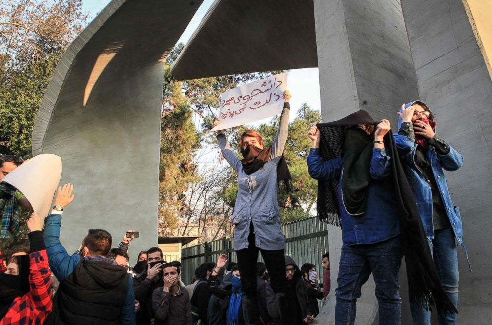 PHOTO: Iranian students protest at the University of Tehran during a demonstration driven by anger over economic problems, in the capital Tehran, Dec. 30, 2017.