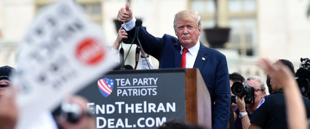 PHOTO: Republican Presidential candidate Donald Trump gives a thumbs up to the crowd after speaking during a rally opposing the Iran nuclear deal outside the Capitol, Sept. 9, 2015.