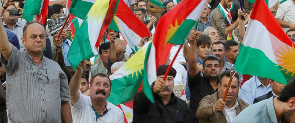 PHOTO: People gather to show their support for the upcoming independence referendum in Kirkuk, Iraq, Sept. 11, 2017.